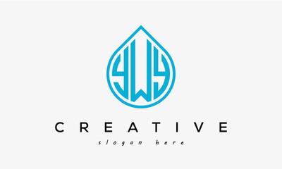 Fototapeta Water drop letters YWY logo initial template vector obraz