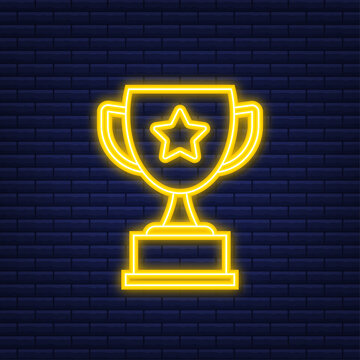 Trophy Cup Vector Flat Icon with star and laurel wreath. Neon icon. Vector illustration.
