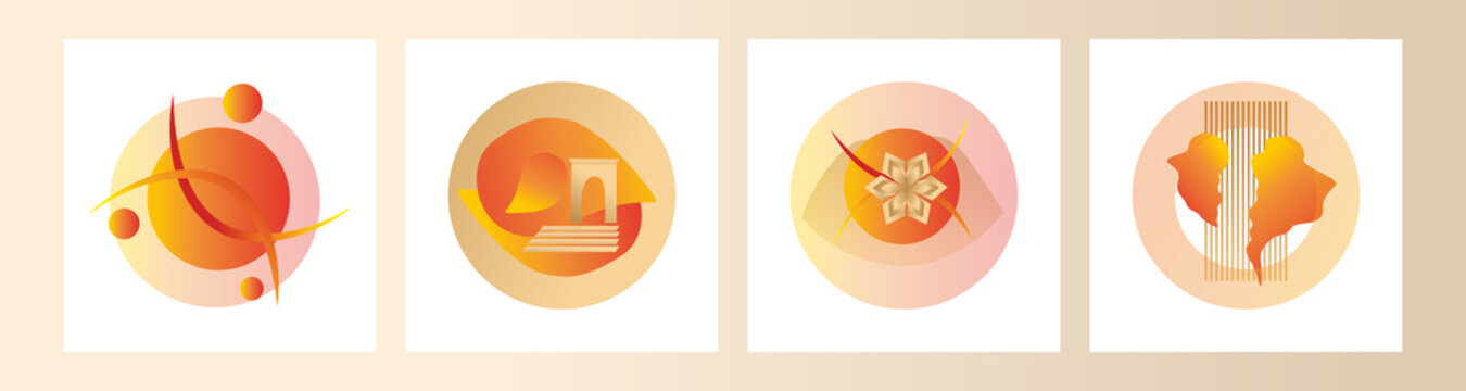 Modern set of abstract gradient compositions for logos, designs, highlights in gold and orange colors. Vector trending abstraction of shapes and geometry, minimalism