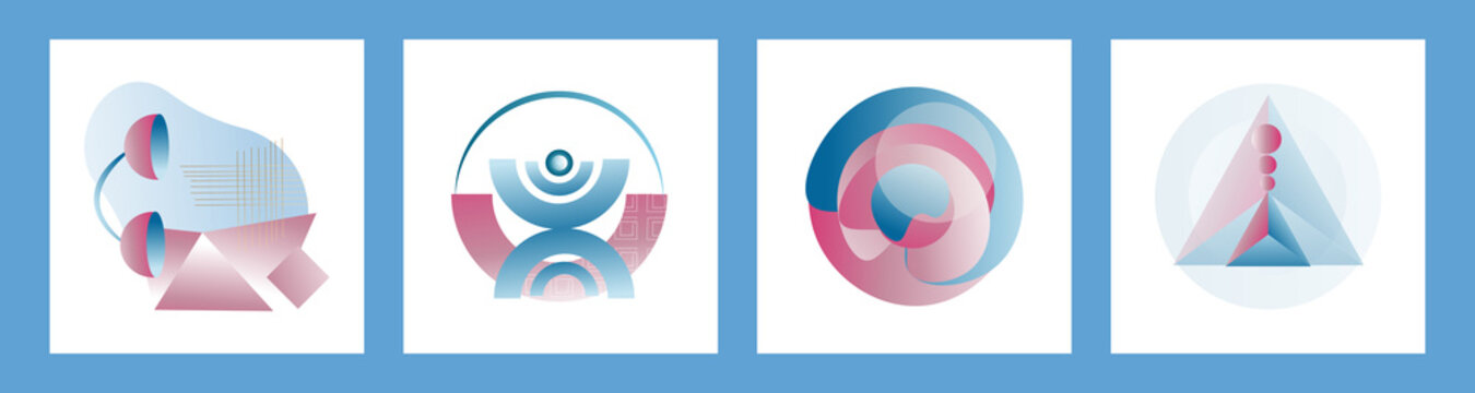 Modern set of abstract gradient compositions for logos, designs, highlights in pink and blue colors. Vector trending abstraction of shapes and geometry, minimalism