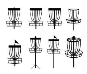 Disc golf basket icon. Vector illustration isolated on white background