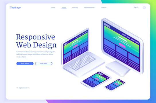 Responsive web design banner. Concept of flexible ui interface of site or app for different digital screens. Vector landing page with isometric laptop, computer monitor, tablet and mobile phone