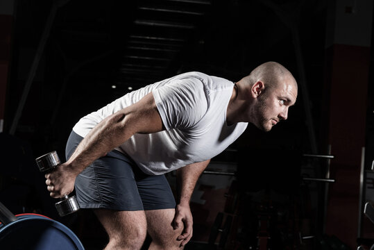 Male bodybuilder engaged with dumbbells in the gym