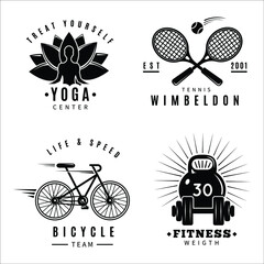 Obraz fitness gym logo set with marathon run club tennis wimbledon jab boxing - fototapety do salonu