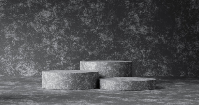 Abstract concrete texture product background and empty minimal modern presentation of stone wall or podium pedestal display platform template wallpaper backdrops with interior blank stand. 3D render.