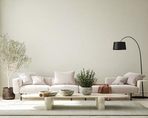 Mock up Wall, modern home interior background, living room, scandinavian style, 3D render, 3D illustration