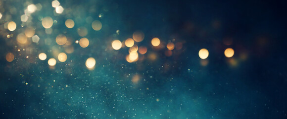background of abstract glitter lights. gold, blue and black. de focused. banner