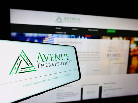 STUTTGART, GERMANY - Aug 30, 2021: Cellphone with logo of pharmaceutical company Avenue Therapeutics Inc. on screen in front of website