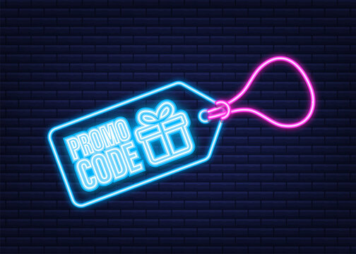 Promo code. Vector Gift Voucher with Coupon Code. Premium eGift Card Background for E-commerce, Online Shopping. Neon icon. Vector illustration.
