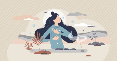 Obraz Self reiki as alternative medicine with energy healing tiny person concept. Relaxation and recovery for yourself after trauma, disease or illness to get back peace and harmony vector illustration. - fototapety do salonu