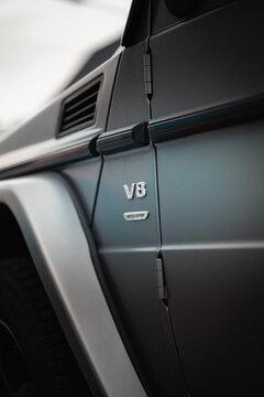 RHEINE, GERMANY - May 26, 2020: Vertical shot of a V8 power of a Mercedes G Wagon car