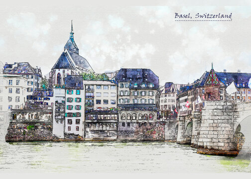 city life of Basel in sketch style
