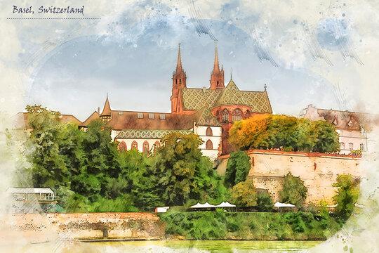 Basel, Switzerland, in sketch style