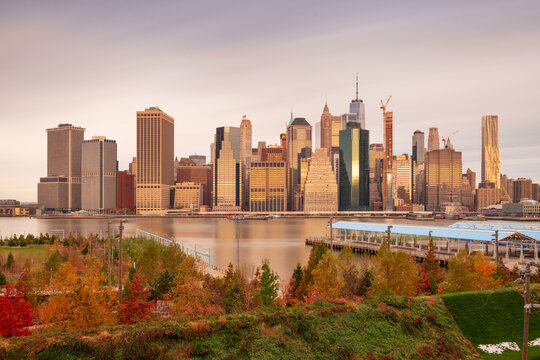 New York City Skyline with Autumn Foliage