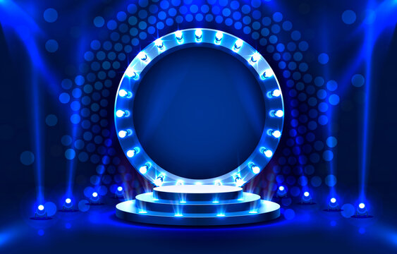 Show light, Stage Podium Scene with for Award Ceremony on blue Background. Vector