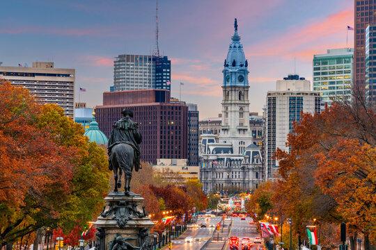 Philadelphia, Pennsylvania, USA Overlooking Benjamin Franklin Parkway