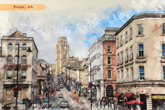 city life of Bristol,  in sketch style