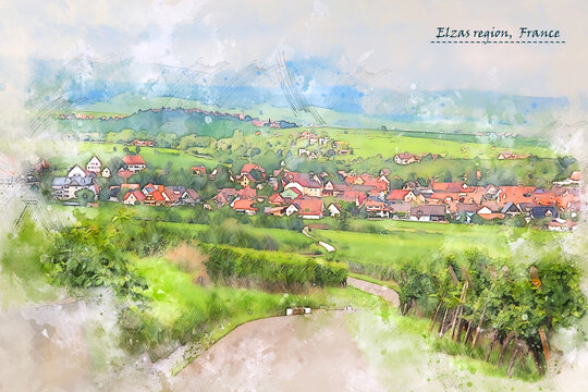 countryside  of Elzas region, France,  in watercolor sketch style