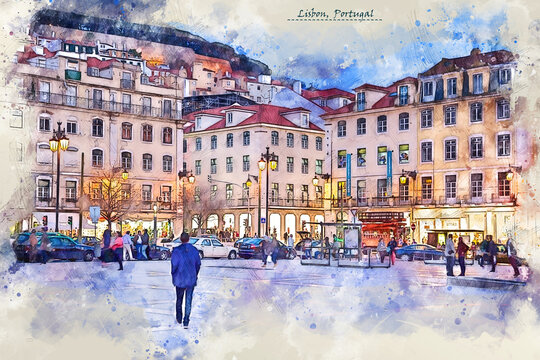 city life of Lisbon , Portugal, in sketch style