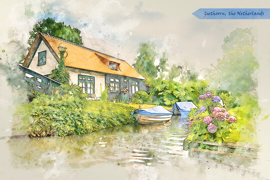 village Giethoorn, the Netherlands, in watercolor sketch style