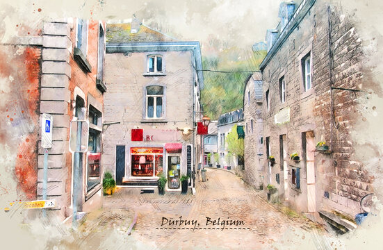 city life of Durbuy, Belgium,  in sketch style