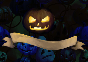 Scary Halloween pumkin with light inside in night background with dramatic text or tekst bow.