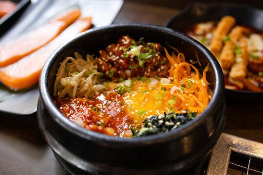 Bulgogi Bibimbap or mixed rice korean food in restuarant.Korean traditional food