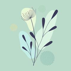 Botaniczna boho kompozycja z dmuchawcem i listkami. Abstrakcyjny projekt roślinny do druku jako plakat, okładka, tapeta, tło, ozdoba, element dekoracyjny. Minimalistyczny styl. Ilustracja wektorowa.