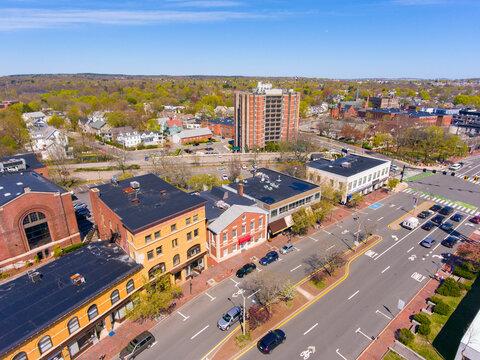 Massachusetts Avenue aerial view at Mystic Street in historic town center of Arlington, Massachusetts MA, USA.