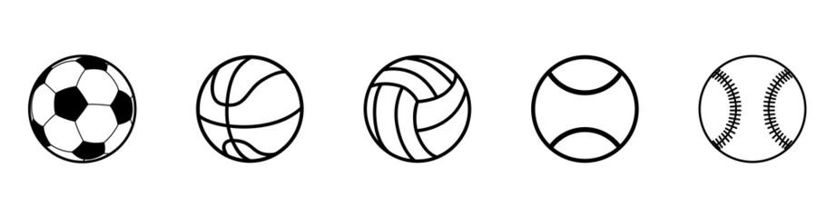 Obraz Sports balls icon set. Ball icons. Balls for Football, Soccer, Basketball, Tennis, Baseball, Volleyball. Vector illustration. - fototapety do salonu