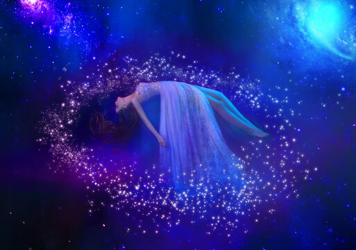 Fantasy woman lies levitating in space. Abstract artistic multicolor dimensional galactic nebula, stars and planets. Goddess girl is meditating. fairy tale sleeping beauty. Vintage dress fly in air