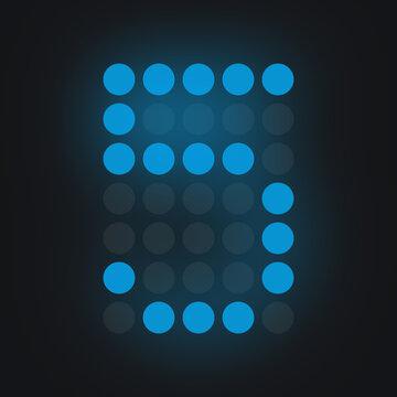 Digital number FIVE in blue on black background, lighted leds glowing flare on background,electronic number digital display