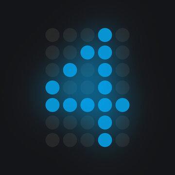 Digital number FOUR in blue on black background, lighted leds glowing flare on background,electronic number digital display