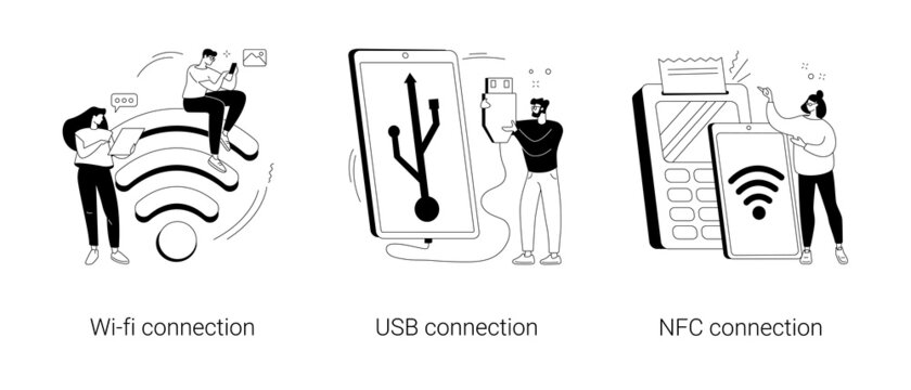 Device connectivity abstract concept vector illustrations.