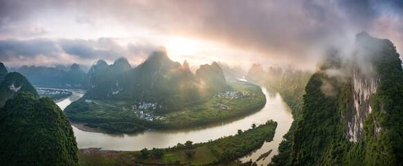 Fototapeta River Through Chinese Mountains obraz