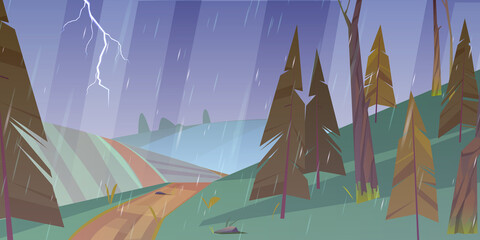 Thunderstorm landscape with rain and lightning.Vector cartoon illustration of storm weather in countryside with green fields, hills, road and coniferous forest
