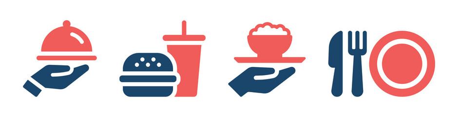 Fototapeta Food icons set. Restaurant service icon collection isolated on white background. obraz
