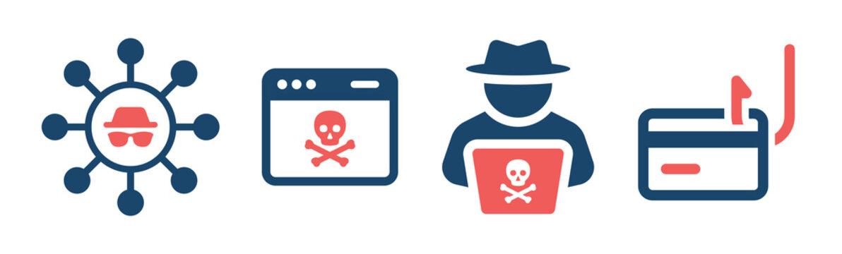 Hack icon set. Phishing scam icon vector illustration