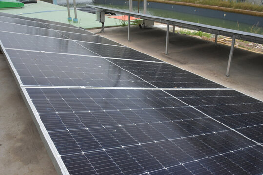 Solar Energy, a clean way of reducing CO2 emissions, a close up view of solar cells