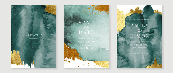 Green emerald and gold texture watercolor wedding invitation vector set. Luxury background and template layout design for invite card, luxury invitation card and cover template.