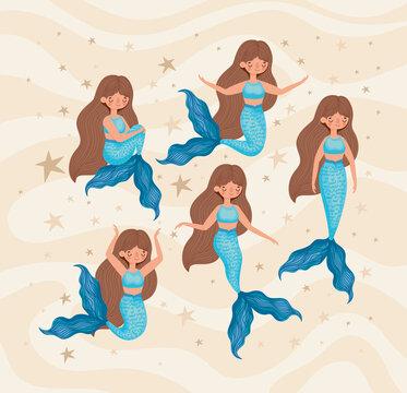 five blue mermaids