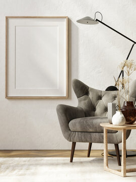 Mockup poster with armchair, and home decoration, 3d render, 3d illustration.