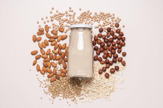 Vegan plant based milk, dairy free, lactose free milk, substitute drink, healthy cleen eating