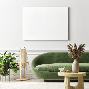 Mockup poster in the living room with green sofa, home decoration, and plants, 3d render, 3d illustration