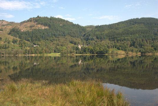 looking across Loch Achray in Trossachs in summer