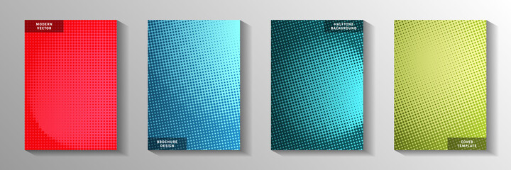 Elegant dot perforated halftone cover page templates vector set. Business catalog faded halftone