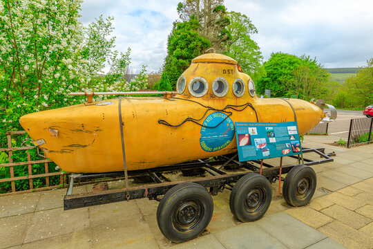 Loch Ness, Scotland, United Kingdom - May 24, 2015: yellow submarine at Loch Ness exhibition centre. Used to seek the lake monster of Loch Ness.