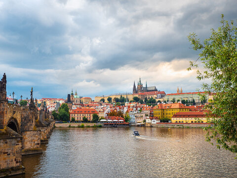 Prague castle, Czech Republic. popular tourist attraction. Travel and sights of city breaks. landmarks, travel guide and postcard.