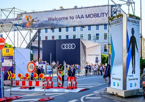 Munich, Germany - September 9: sign of the IAA (Internationale Auto Ausstellung - translation: international auto exhibition) trade fair in Munich on September 9, 2021