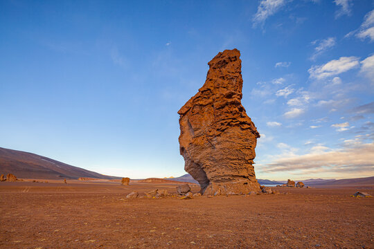 Volcanic Ignimbrite column shaped by wind erosion in the high Andes